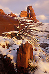 Delicate Arch after a snow in Arches National Park.
