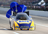 Apr 26, 2014; Baytown, TX, USA; NHRA funny car driver Ron Capps during qualifying for the Spring Nationals at Royal Purple Raceway. Mandatory Credit: Mark J. Rebilas-