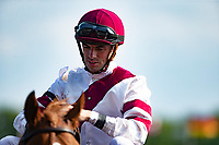 ARLINGTON HEIGHTS,IL-AUGUST 11: Florent Geroux,the winning jockey,after winning the Bruce D. Memorial Stakes with Sir Anthony at Arlington International Race Track on August 11,2018 in Arlington Heights,Illinois (Photo by Kaz Ishida/Eclipse Sportswire/Getty Images)