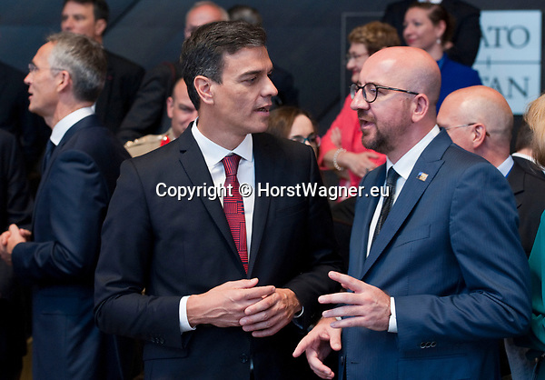 Belgium, Brussels - July 11, 2018 -- NATO summit, meeting of Heads of State / Government; here, Pedro SÁNCHEZ (Sanchez) (le), Prime Minister of Spain, with Charles MICHEL (ri), Prime Minister of Belgium -- Photo © HorstWagner.eu