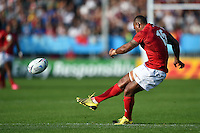 Vunga Lilo of Tonga kicks for the posts. Rugby World Cup Pool C match between Tonga and Namibia on September 29, 2015 at Sandy Park in Exeter, England. Photo by: Patrick Khachfe / Onside Images