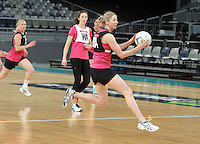 15.09.2012 Silver Ferns Camilla Lees in action at training at the Hisense Arena In Melbourne ahead of the first netball test match between the Silver Ferns and Australia. Mandatory Photo Credit ©Michael Bradley.