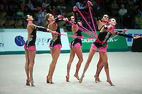 "Rhythmic group from Italy performs 5 ropes routine at 2008 World Cup Kiev, ""Deriugina Cup"" in Kiev, Ukraine on March 22, 2008."