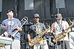 Slightly Stoopid band members play a concert during the summer X-Games at the Circuit of the Americas race track in Austin, Texas.