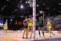 Maria Folau shoots for goal during the Constellation Cup Netball Series match between the New Zealand Silver Ferns and Australia Diamonds at Horncastle Arena in Christchurch, New Zealand on Sunday, 13 October 2019. Photo: Dave Lintott / lintottphoto.co.nz