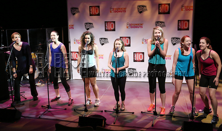 Cast of 'Volleygirls featuring Susan Blackwell, Juliane Godfrey, Julia Knitel, Gerianne Perez, Allison Jill Posner, Dana Steingold and Allison Strong Performing at The New York Musical Theatre Festival - Special Preview at The Studio Theatre on July 2, 2013 in New York City.