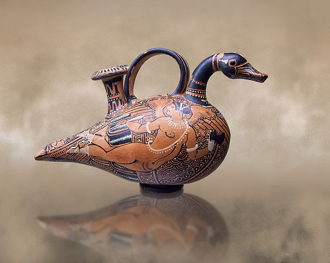 A 4th century B.C Etruscan Askoi, olive oil or wine jar, in the shape of a duck, terracotta illustrated with black paint, inv 4233, National Archaeological Museum Florence, Italy