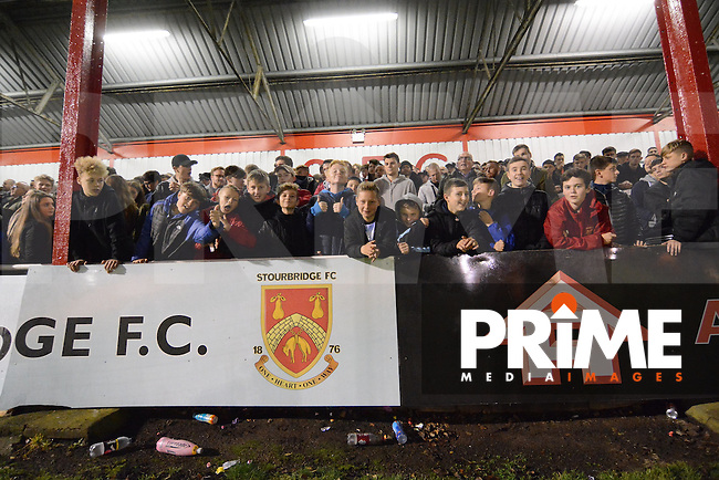 Stourbridge fans fill the Shed End during the FA Cup 1st round replay match between Stourbridge and Whitehawk  at the War Memorial Athletic Ground, Stourbridge, England on 14 November 2016. Photo by Garry Griffiths.