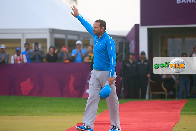 Sergio Garcia (ESP) wins the tournament after a 3 hole playoff with Mikko Ilonen (FIN) during Saturday's Final Round of the Commercial Bank Qatar Masters 2014 held at Doha Golf Club, Doha, Qatar. 25th January 2014.<br /> Picture: Eoin Clarke www.golffile.ie