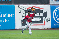 Billings Mustangs left fielder Zeek White (6) pursues a fly ball during a Pioneer League game against the Ogden Raptors at Lindquist Field on August 17, 2018 in Ogden, Utah. The Billings Mustangs defeated the Ogden Raptors by a score of 6-3. (Zachary Lucy/Four Seam Images)