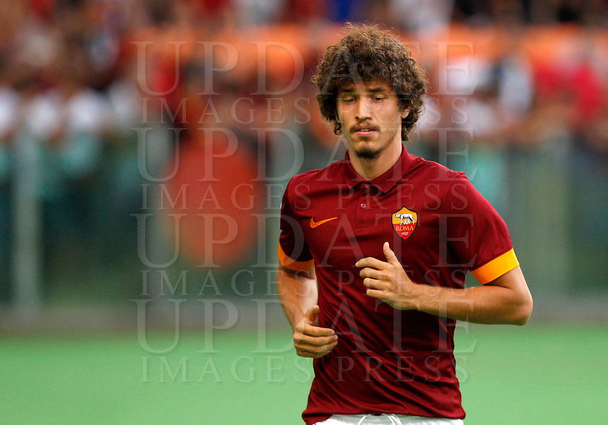 Calcio, amichevole Roma vs Fenerbahce. Roma, stadio Olimpico, 19 agosto 2014.<br /> Roma midfielder Salih Ucan, of Turkey, arrives for the team's presentation, prior to the friendly match between AS Roma and Fenerbahce at Rome's Olympic stadium, 19 August 2014.<br /> UPDATE IMAGES PRESS/Riccardo De Luca