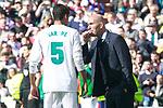Real Madrid's coach Zinedine Zidane with Raphael Varane during La Liga match. April 8,2018. (ALTERPHOTOS/Acero)