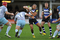 Jonathan Joseph of Bath Rugby in possession. Aviva Premiership match, between Bath Rugby and Northampton Saints on December 5, 2015 at the Recreation Ground in Bath, England. Photo by: Patrick Khachfe / Onside Images