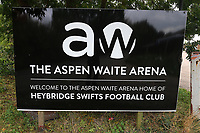 General view of the ground entrance sign during Heybridge Swifts vs Carshalton Athletic, FA Trophy Football at The Aspen Waite Arena, Scraley Road on 7th October 2017