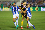 Club Deportivo Leganes's Martin Mantovani Unai Bustinza and Atletico de Madrid's Yannick Ferreira Carrasco during the match of La Liga between Club Deportivo Leganes and Atletico de Madrid at Butarque Estadium in Leganes. August 27, 2016. (ALTERPHOTOS/Rodrigo Jimenez)