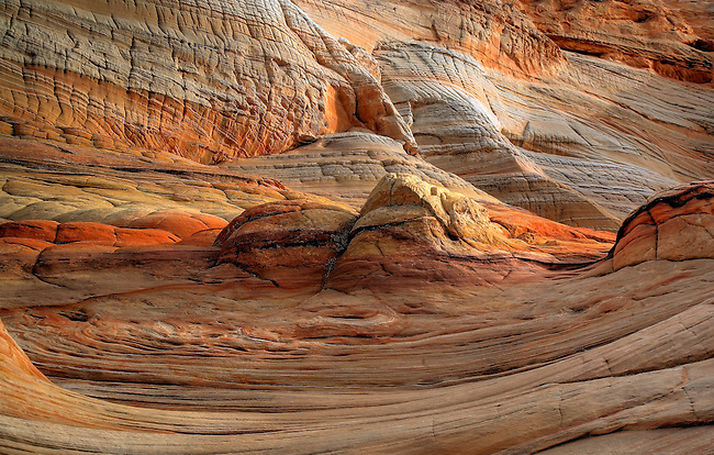 Erosion has created very unusual sandstone formations, swirls, waves and crossbedding at Coyote Buttes at Vermillion Cliffs National Monument, Arizona