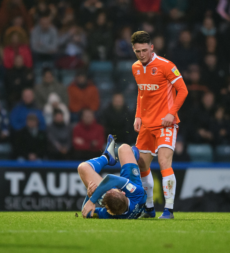Blackpool's Jordan Thompson reacts to a challenge from Rochdale's Callum Camps which resulted in a red card for the Blackpool player<br /> <br /> Photographer Chris Vaughan/CameraSport<br /> <br /> The EFL Sky Bet League One - Rochdale v Blackpool - Wednesday 26th December 2018 - Spotland Stadium - Rochdale<br /> <br /> World Copyright © 2018 CameraSport. All rights reserved. 43 Linden Ave. Countesthorpe. Leicester. England. LE8 5PG - Tel: +44 (0) 116 277 4147 - admin@camerasport.com - www.camerasport.com