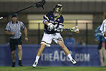 DURHAM, NC - APRIL 28: Notre Dame's Mikey Wynne scores a goal. The Duke University Blue Devils played the University of Notre Dame Fighting Irish on April 28, 2017, at Koskinen Stadium in Durham, NC in a 2017 ACC Men's Lacrosse Tournament Semifinal match. Notre Dame won the game 7-6.