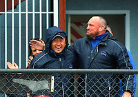 Horowhenua Kapiti coaches Katsu Takeuchi (left) and Chris Wilton celebrate at the final whistle of the Mitre 10 Heartland Championship rugby union match between Horowhenua Kapiti and Wanganui at Levin Domain in Levin, New Zealand on Saturday, 7 October 2017. Photo: Dave Lintott / lintottphoto.co.nz