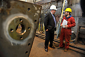 Visit of Alex Salmond to Steel Engineering in Renfrew - here with Fabricator Marian Cruisu (correct) - Picture by Donald MacLeod - 27.04.11 - 07702 319 738 - www.donald-macleod.com