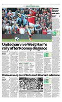 Sunday Telegraph - 28-Sep-2014 - 'Red mist: Manchester United captain Wayne Rooney brings down West Ham's Stewart Downing to earn a second-half sending-off at Old Trafford' - Photo by Rob Newell (Digital South)
