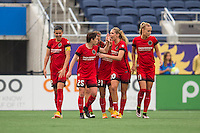 Orlando, FL - Sunday June 26, 2016: Christine Sinclair, Meghan Klingenberg, Allie Long, Dagny Brynjarsdottir  during a regular season National Women's Soccer League (NWSL) match between the Orlando Pride and the Portland Thorns FC at Camping World Stadium.