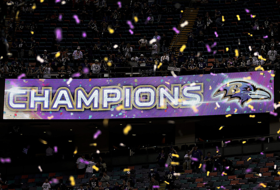 Feb 3, 2013; New Orleans, LA, USA; Confetti falls as an led video board shows the Baltimore Ravens as champions after defeating the San Francisco 49ers in Super Bowl XLVII at the Mercedes-Benz Superdome. Mandatory Credit: Mark J. Rebilas-