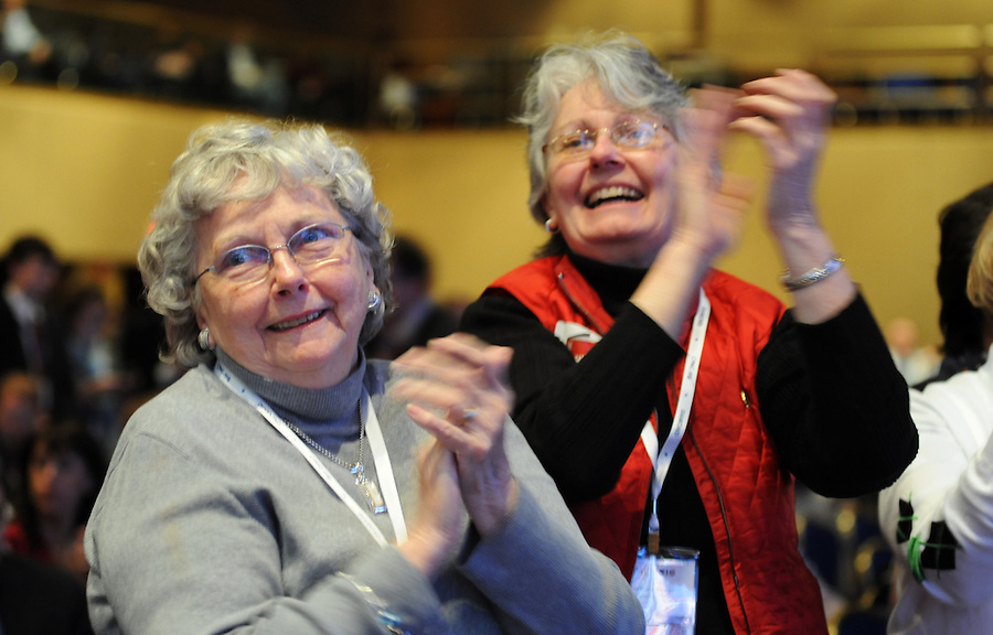 (left to right) Therese Vaughn, of Deluth, MN, and her daughter Barbara Dodge, of Manassas, VA, cheer during the 37th Annual Conservative Political Action Conference (CPAC) held at Marriott Wardman Park Hotel in Washington DC on Friday, Feb. 19, 2009. They have been at the CPAC together for the past 18 years. (Amanda Lucidon/For The New York Times)
