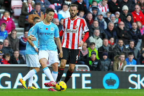 10.11.2013 Sunderland, England. Samir Nasri of Manchester City in action during the Premier League game between Sunderland and Manchester City from the Stadium of Light.