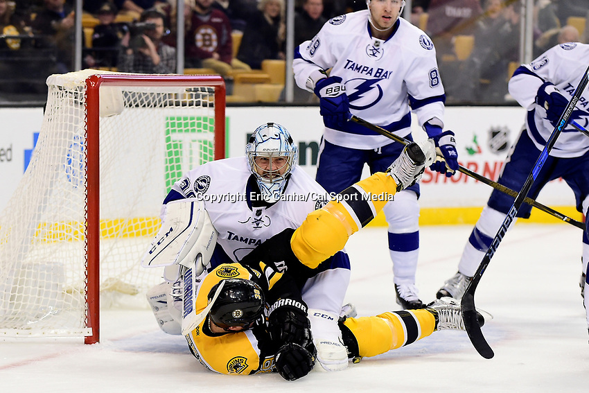 Sunday, November 27, 2016: Boston Bruins left wing Matt Beleskey (39) falls into Tampa Bay Lightning goalie Ben Bishop (30) during the National Hockey League game between the Tampa Bay Lightning and the Boston Bruins held at TD Garden, in Boston, Mass. Eric Canha/CSM