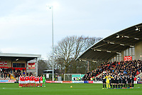 The Fleetwood Town and Portsmouth players acknowledge a minutes silence for former Fleetwood player Jim Strachan<br /> <br /> Photographer Richard Martin-Roberts/CameraSport<br /> <br /> The EFL Sky Bet League One - Fleetwood Town v Portsmouth - Saturday 29th December 2018 - Highbury Stadium - Fleetwood<br /> <br /> World Copyright &copy; 2018 CameraSport. All rights reserved. 43 Linden Ave. Countesthorpe. Leicester. England. LE8 5PG - Tel: +44 (0) 116 277 4147 - admin@camerasport.com - www.camerasport.com