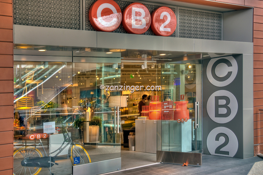 CB2 from Crate & Barrel, Santa Monica Place; fresh, open-air design, shopping mall; Department Stores, color, simple lines, Santa Monica; CA;