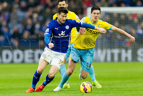 07.02.2015.  Leicester, England. Barclays Premier League. Leicester City versus Crystal Palace. David Nugent of Leicester City holds off Martin Kelly of Crystal Palace.