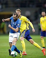 Soccer Football - 2018 World Cup Qualifications - Europe - Italy vs Sweden - San Siro, Milan, Italy - November 13, 2017 <br /> Italy's Giorgio Chiellini (l) in action with Sweden's Ola Toivonen (r) the FIFA World Cup 2018 qualification football match between Italy and Sweden at the San Siro Stadium in Milan on November 13, 2017.<br /> UPDATE IMAGES PRESS/Isabella Bonotto