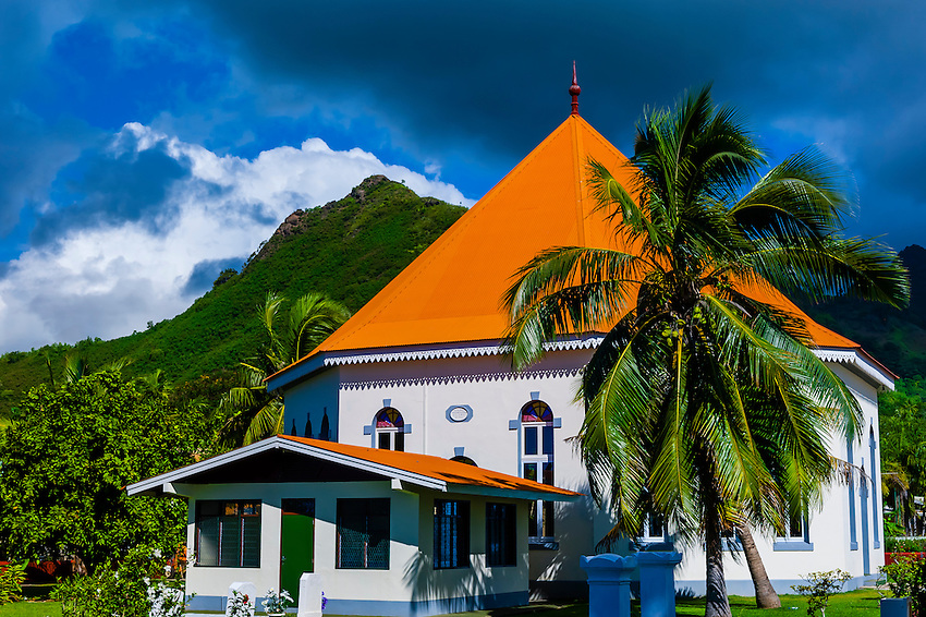 Church, town of Papeto'ai, island of Moorea, French Polynesia.