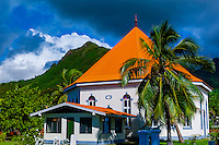 Church, town of Papeto'ai, island of Moorea, French Polynesia.