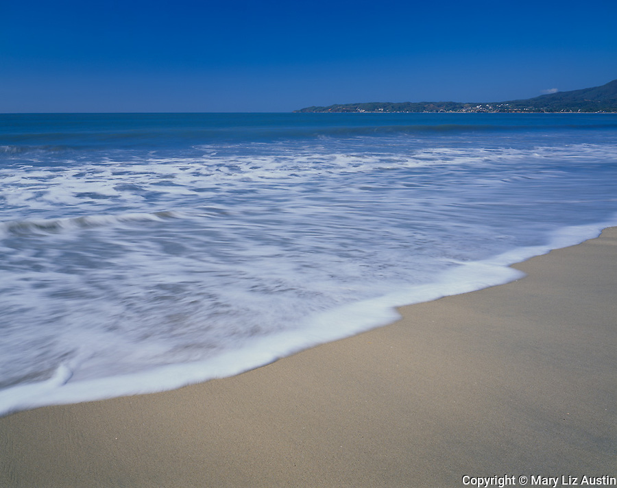 Nayarit, Mexico<br /> Waves washing the beach of Bahia de Banderas (Banderas Bay) near the village of Bucerias