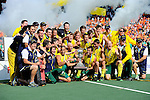 The Hague, Netherlands, June 15: Team of Australia celebrates and poses with the World Cup Trophy during the prize giving ceremony on June 15, 2014 during the World Cup 2014 at Kyocera Stadium in The Hague, Netherlands. (Photo by Dirk Markgraf / www.265-images.com) *** Local caption ***
