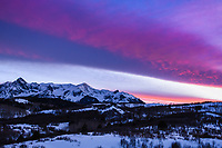 A beautiful February sunset over Dallas Divide between Ridgway and Telluride, Colorado.