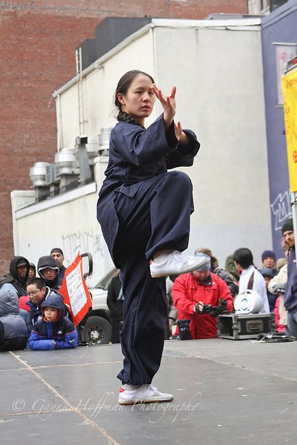 Woman performing Chinese martial art.
