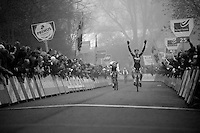 Wout Van Aert (BEL/Vastgoedservice-Golden Palace) beating Mathieu Vanderpoel (NLD/BKCP-Powerplus) in the finish sprint<br /> <br /> Flandriencross Hamme 2014