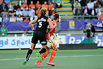 The Hague, Netherlands, June 10: Andy Hayward #5 of New Zealand in action during the field hockey group match (Men - Group B) between New Zealand and The Netherlands on June 10, 2014 during the World Cup 2014 at Kyocera Stadium in The Hague, Netherlands. Final score 1-1 (0-1) (Photo by Dirk Markgraf / www.265-images.com) *** Local caption ***