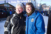 during the ceremonial start day of the 2011 Iditarod in Anchorage, Alaska