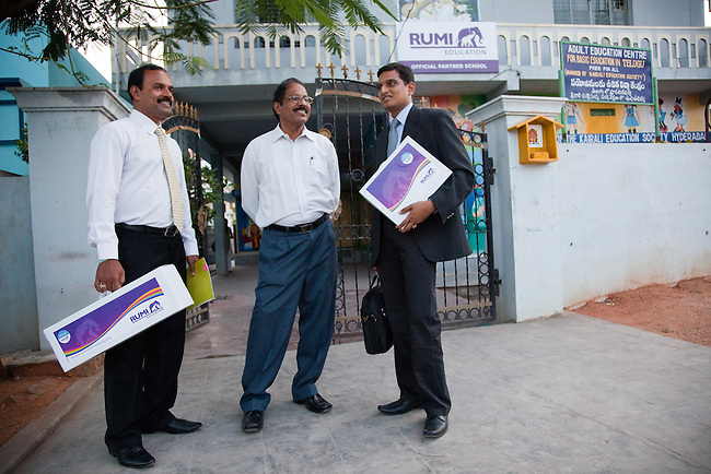 30 November 2011 : Sales staff from Rumi Education with the correspondent (centre) of Kairali School which is a partner school with the new Rumi Education education model run by the Richard Chandler corporation in Hyderabad, India. Pictures by Graham Crouch