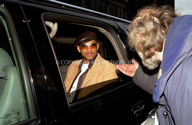 WWW.ACEPIXS.COM . . . . .  ***EXCLUSIVE!!! FEE MUST BE NEGOTIATED BEFORE USE!!!***....NEW YORK, FEBRUARY 8, 2005....Will Smith seen leaving the Mandarin Hotel heading for an appearance at TRL. Along the way he takes a moment to a an acapella by Harmonic Soul, shake a police officers hand, chat with Radio Man and give the peace sign.....Please byline: Ian Wingfield - ACE PICTURES..... *** ***..Ace Pictures, Inc:  ..Philip Vaughan (646) 769-0430..e-mail: info@acepixs.com..web: http://www.acepixs.com