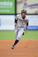 Gosuke Katoh (28) of the Pulaski Yankees hustles towards third base against the Danville Braves at Legion Field on August 7, 2015 in Danville, Virginia.  The Yankees defeated the Braves 3-2. (Brian Westerholt/Four Seam Images)