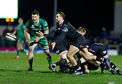 9th February 2018, Galway Sportsground, Galway, Ireland; Guinness Pro14 rugby, Connacht versus Ospreys; Ashley Beck plays the ball away for Ospreys