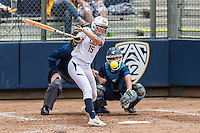 BERKELEY, CA - March 19, 2016: The Cal Bears softball team vs the UCLA Bruins in softball at Levine-Fricke Field in Berkeley, California. Final score, Cal Bears 2, UCLA 3.