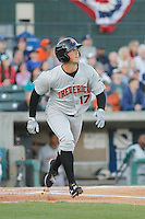 Frederick Keys second baseman Steve Wilkerson (17) at bat during a game against the Myrtle Beach Pelicans at Ticketreturn.com Field at Pelicans Ballpark on April 7, 2016 in Myrtle Beach, South Carolina. Myrtle Beach defeated Frederick 5-2. (Robert Gurganus/Four Seam Images)