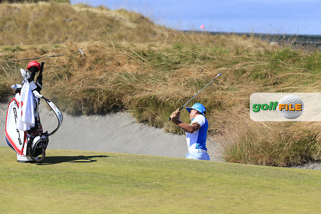 Rickie FOWLER (USA) chips out of a bunker at the 17th green during Friday's Round 2 of the 2015 U.S. Open 115th National Championship held at Chambers Bay, Seattle, Washington, USA. 6/19/2015.<br /> Picture: Golffile | Eoin Clarke<br /> <br /> <br /> <br /> <br /> All photo usage must carry mandatory copyright credit (&copy; Golffile | Eoin Clarke)